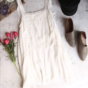 Free People cream dress with lace detailing